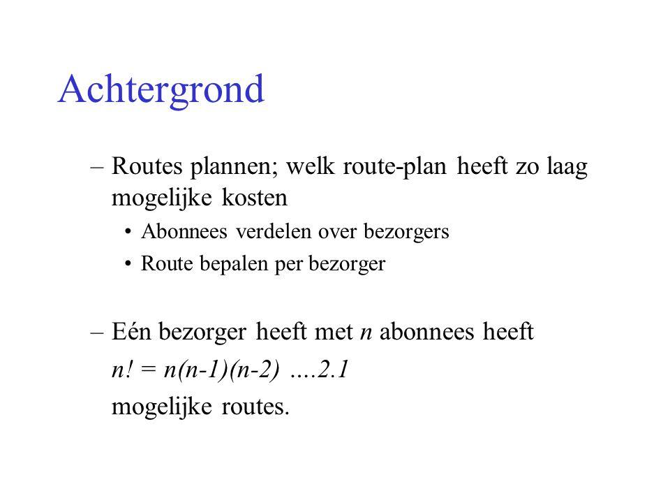 Achtergrond Routes plannen; welk route-plan heeft zo laag mogelijke kosten. Abonnees verdelen over bezorgers.