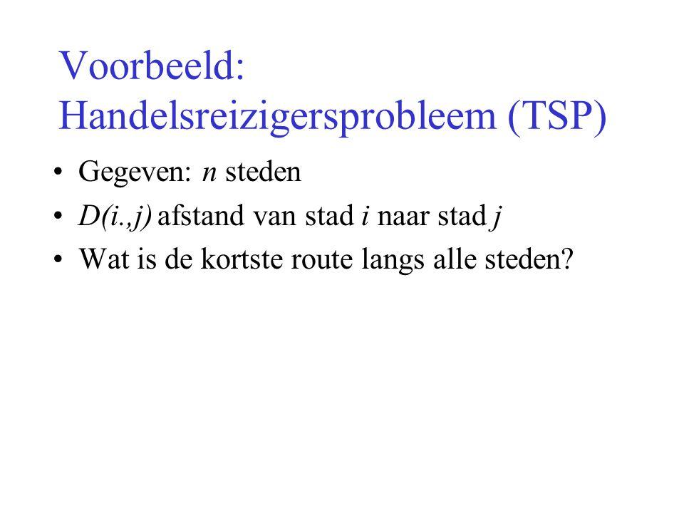 Voorbeeld: Handelsreizigersprobleem (TSP)