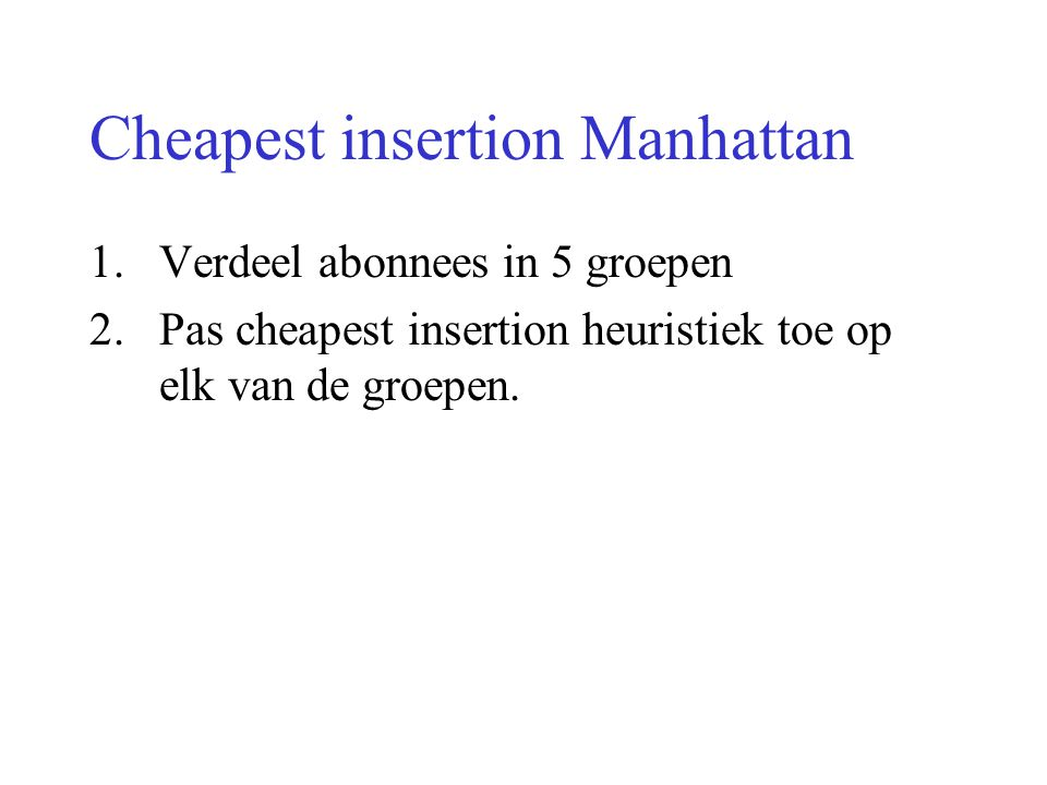 Cheapest insertion Manhattan
