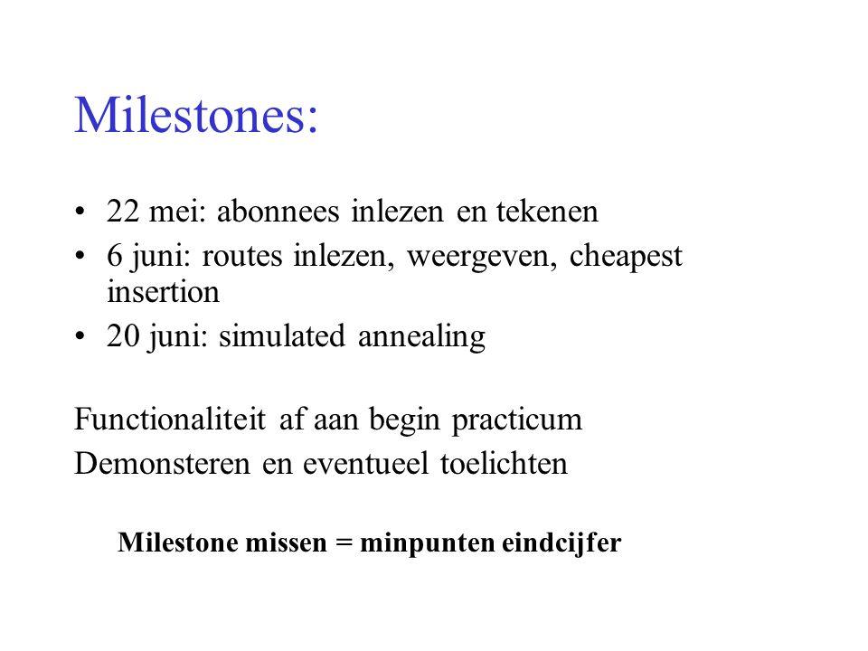 Milestones: 22 mei: abonnees inlezen en tekenen