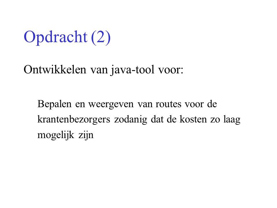 Opdracht (2) Ontwikkelen van java-tool voor: