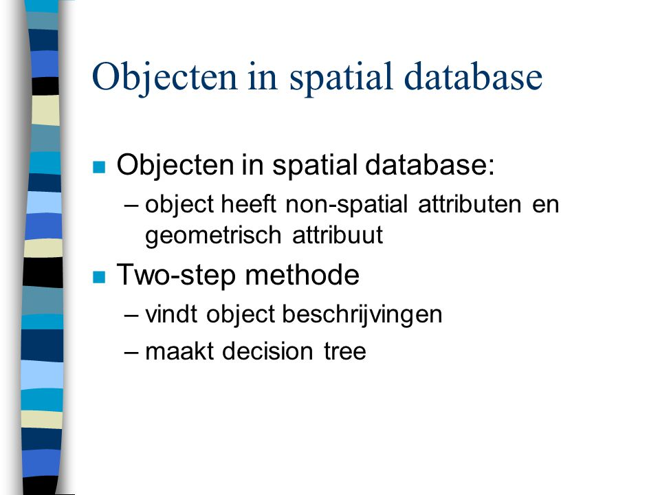 Objecten in spatial database