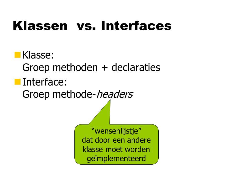 Klassen vs. Interfaces Klasse: Groep methoden + declaraties