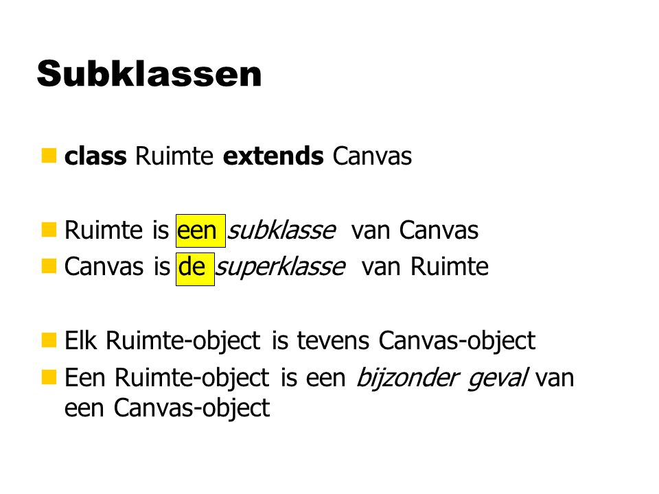 Subklassen class Ruimte extends Canvas