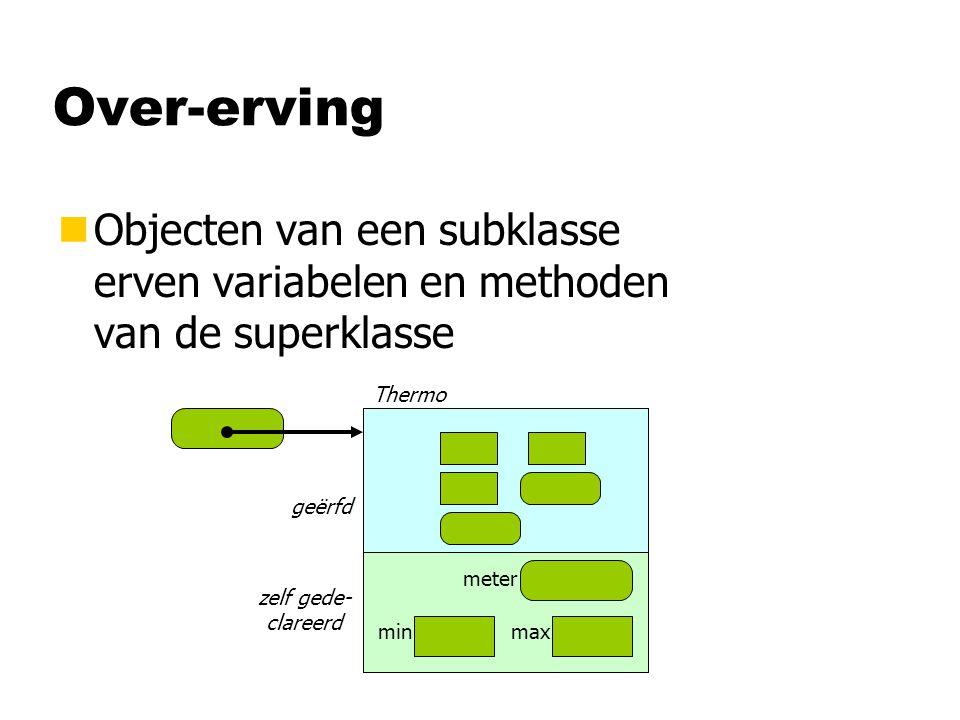 Over-erving Objecten van een subklasse erven variabelen en methoden van de superklasse. Thermo. geërfd.