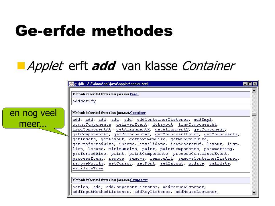 Ge-erfde methodes Applet erft add van klasse Container en nog veel
