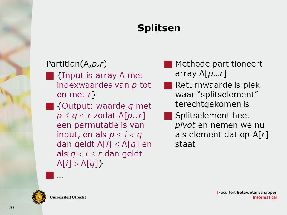 Splitsen Partition(A,p,r)