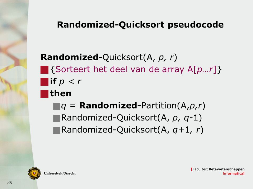 Randomized-Quicksort pseudocode