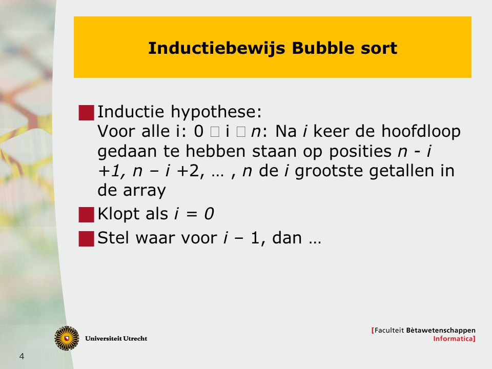 Inductiebewijs Bubble sort