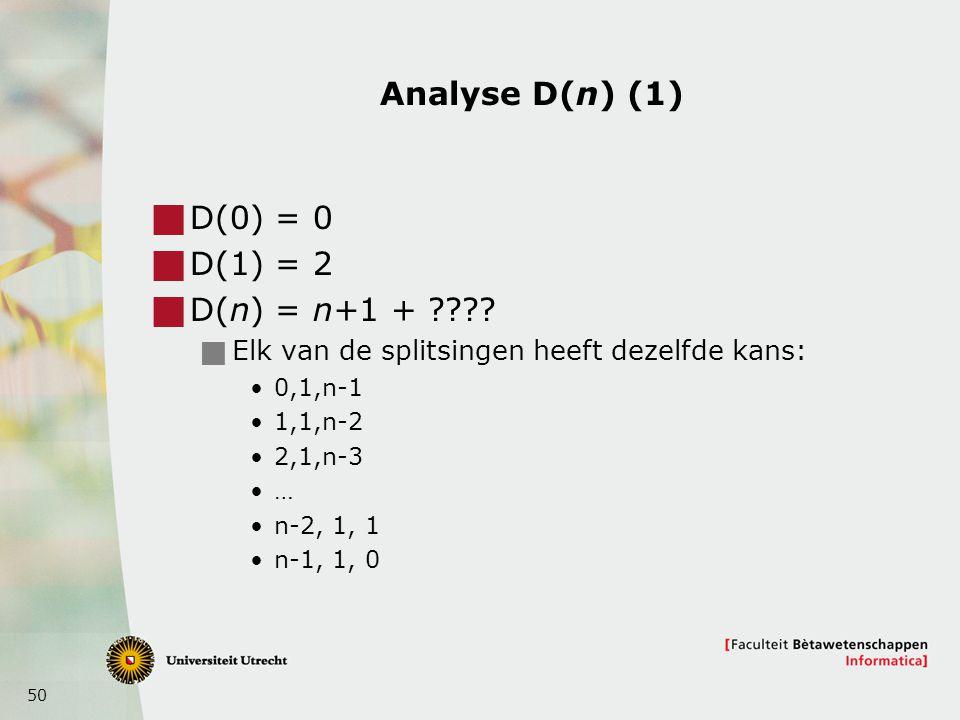 Analyse D(n) (1) D(0) = 0 D(1) = 2 D(n) = n+1 +