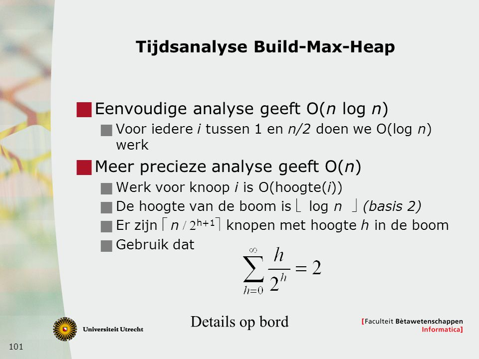 Tijdsanalyse Build-Max-Heap