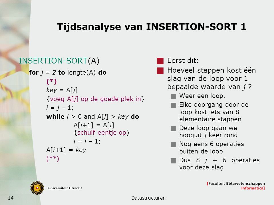 Tijdsanalyse van INSERTION-SORT 1
