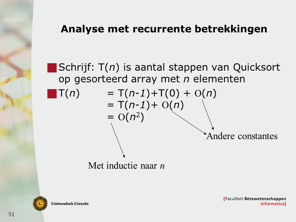 Analyse met recurrente betrekkingen