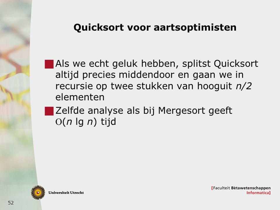Quicksort voor aartsoptimisten