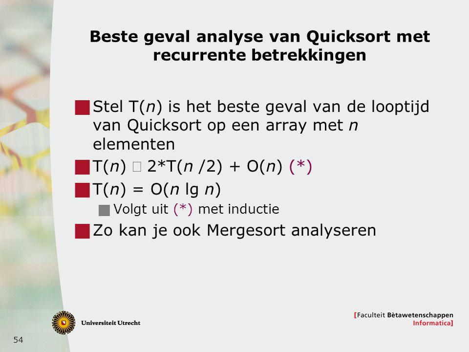 Beste geval analyse van Quicksort met recurrente betrekkingen