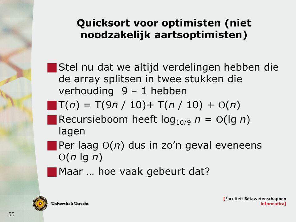 Quicksort voor optimisten (niet noodzakelijk aartsoptimisten)