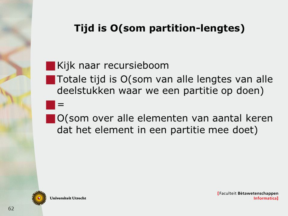 Tijd is O(som partition-lengtes)