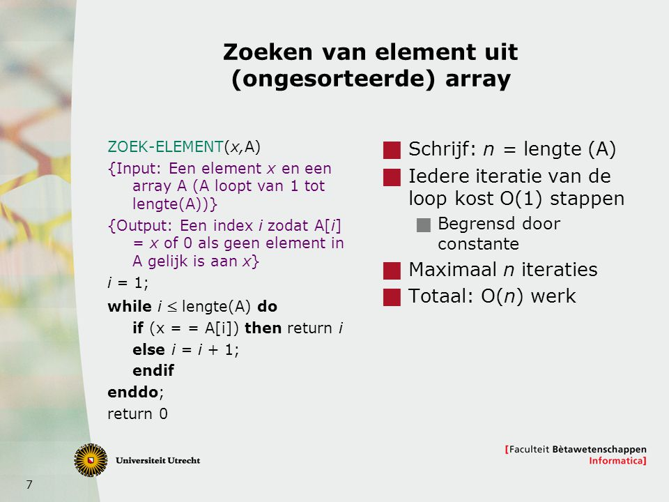 Zoeken van element uit (ongesorteerde) array