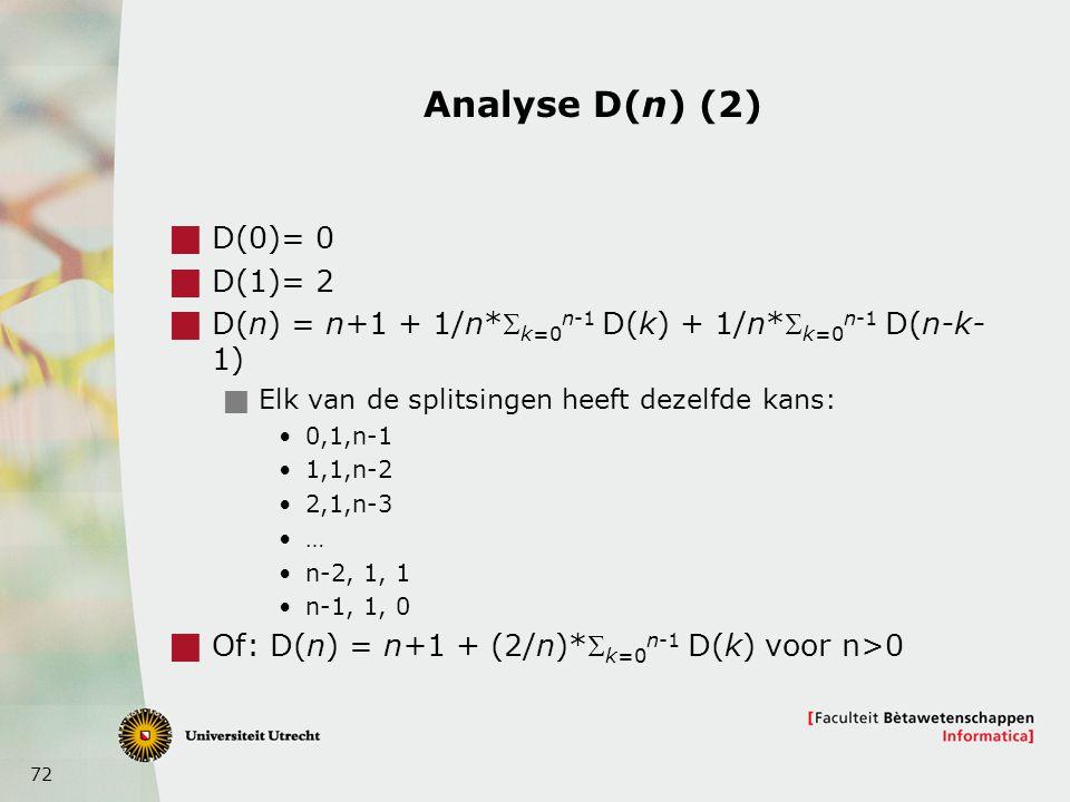 Analyse D(n) (2) D(0)= 0 D(1)= 2