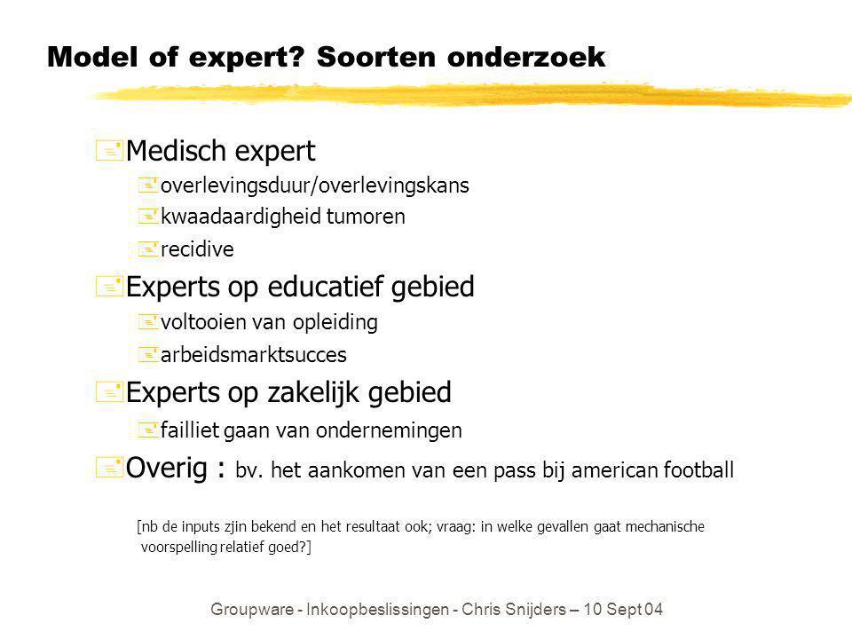 Model of expert Soorten onderzoek