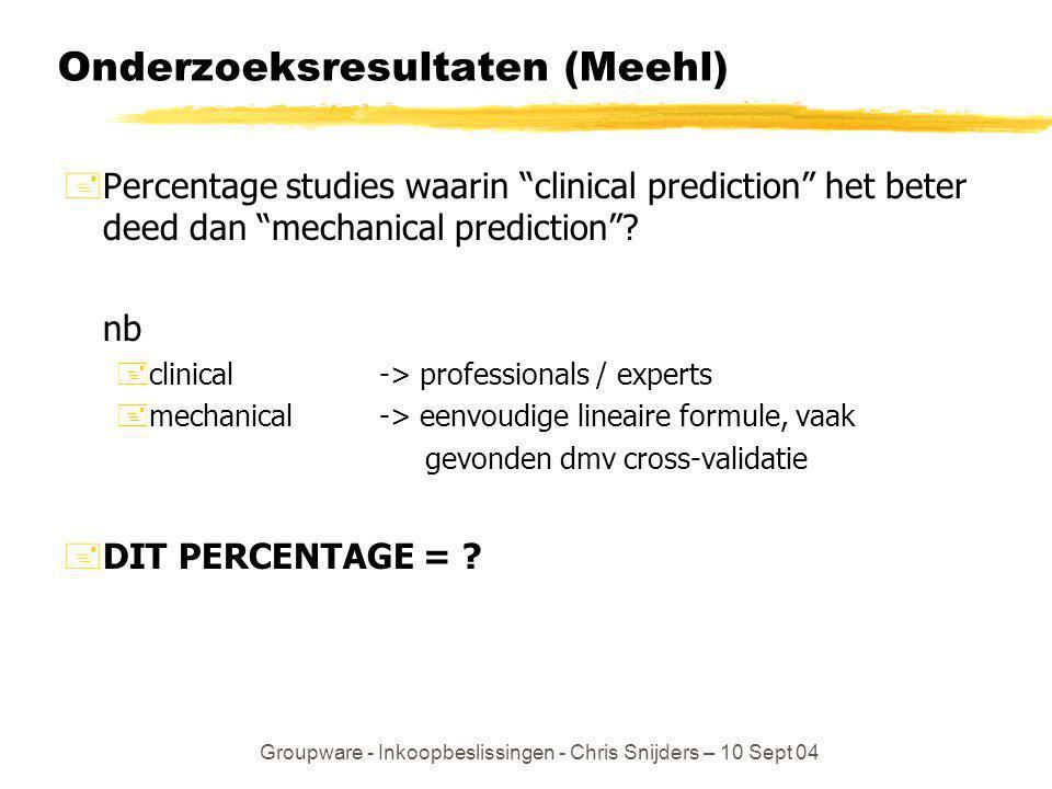 Onderzoeksresultaten (Meehl)