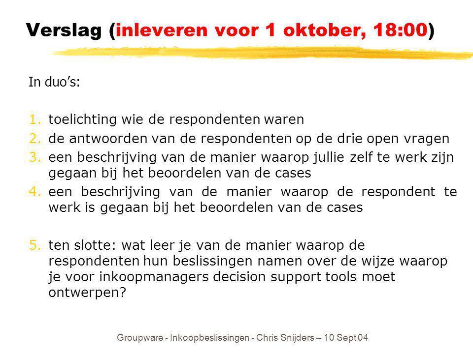 Verslag (inleveren voor 1 oktober, 18:00)
