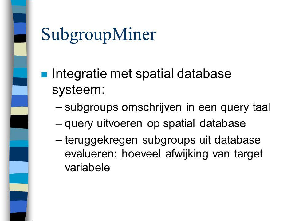 SubgroupMiner Integratie met spatial database systeem: