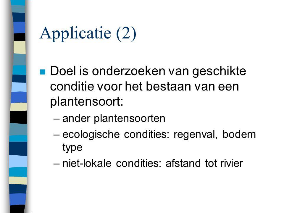 Applicatie (2) Doel is onderzoeken van geschikte conditie voor het bestaan van een plantensoort: ander plantensoorten.