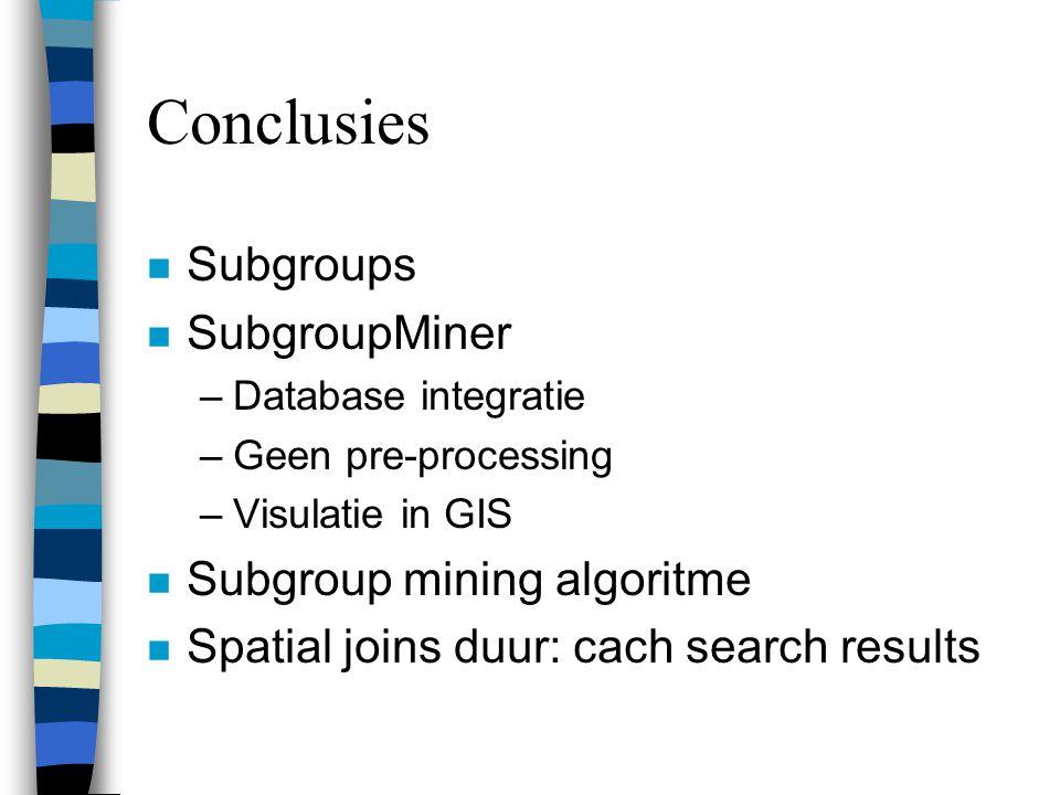 Conclusies Subgroups SubgroupMiner Subgroup mining algoritme