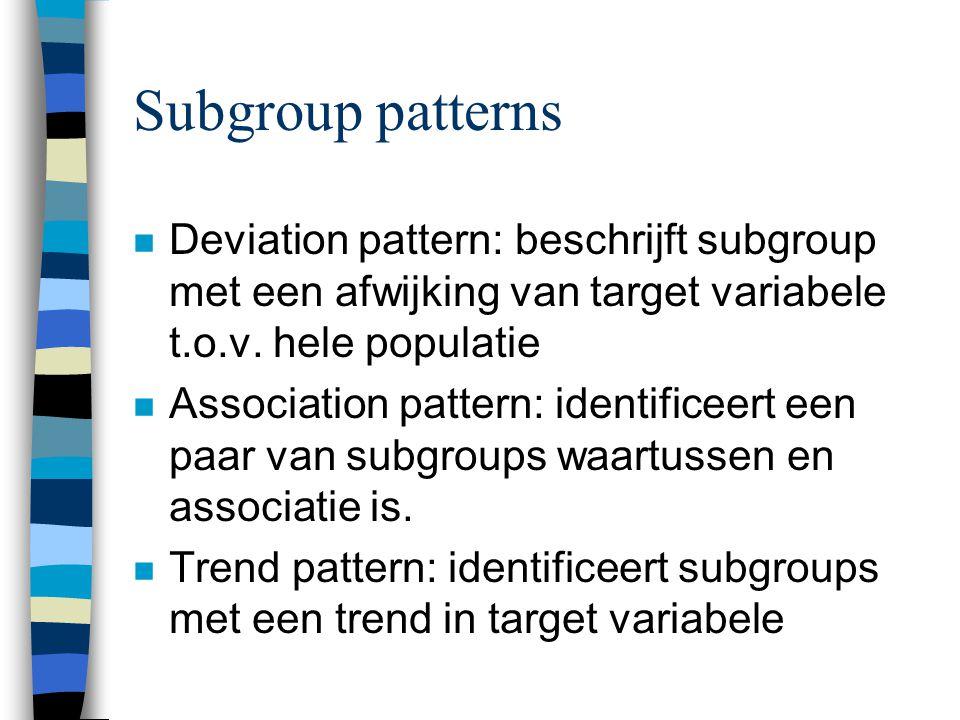 Subgroup patterns Deviation pattern: beschrijft subgroup met een afwijking van target variabele t.o.v. hele populatie.