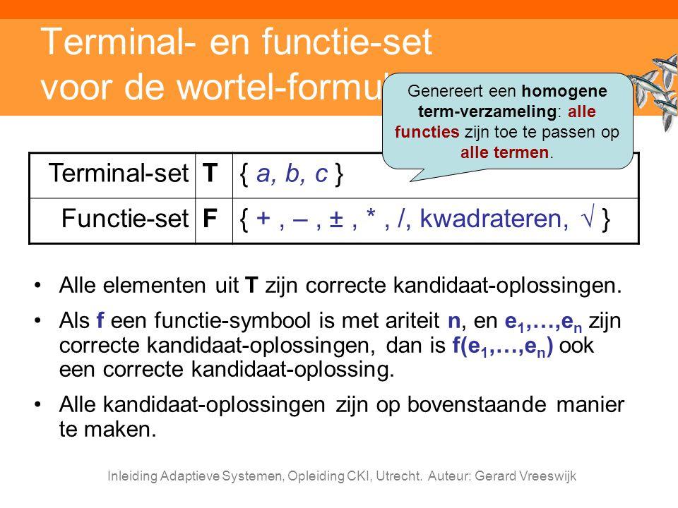 Terminal- en functie-set voor de wortel-formule
