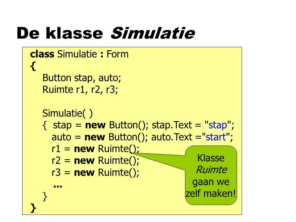 De klasse Simulatie class Simulatie : Form { Button stap, auto;