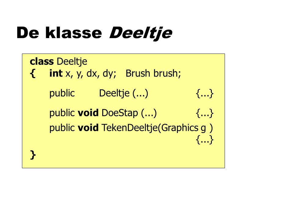 De klasse Deeltje class Deeltje { int x, y, dx, dy; Brush brush;