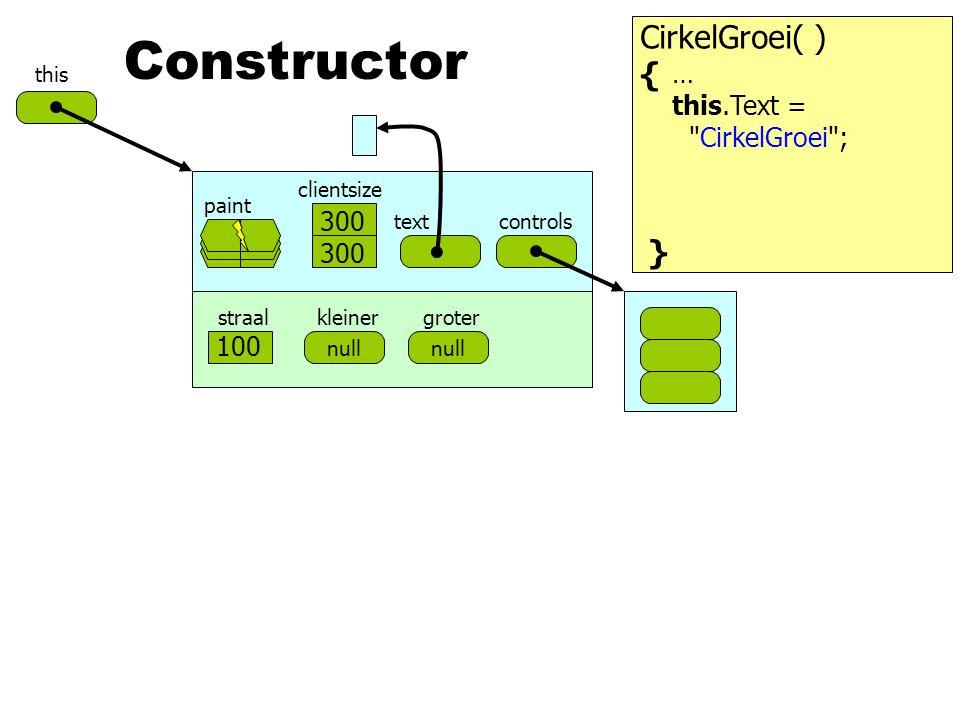 Constructor CirkelGroei( ) { } … this.Text = CirkelGroei ; 500 300