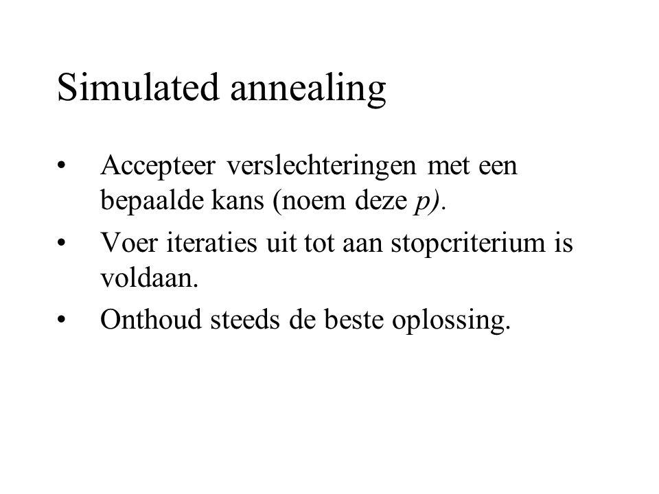 Simulated annealing Accepteer verslechteringen met een bepaalde kans (noem deze p). Voer iteraties uit tot aan stopcriterium is voldaan.
