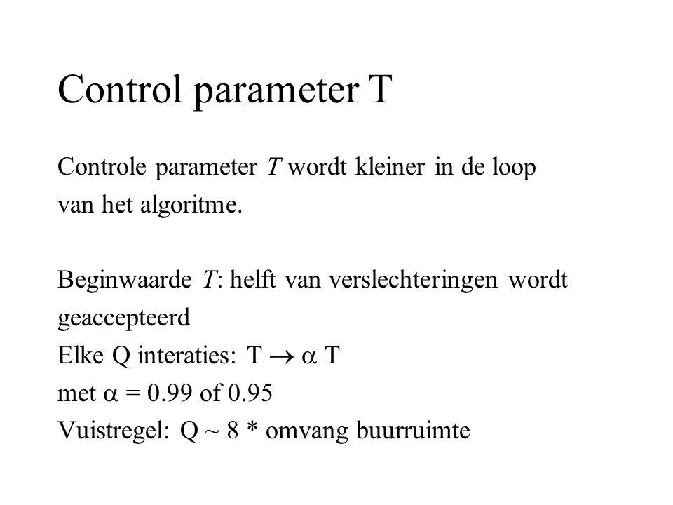 Control parameter T Controle parameter T wordt kleiner in de loop