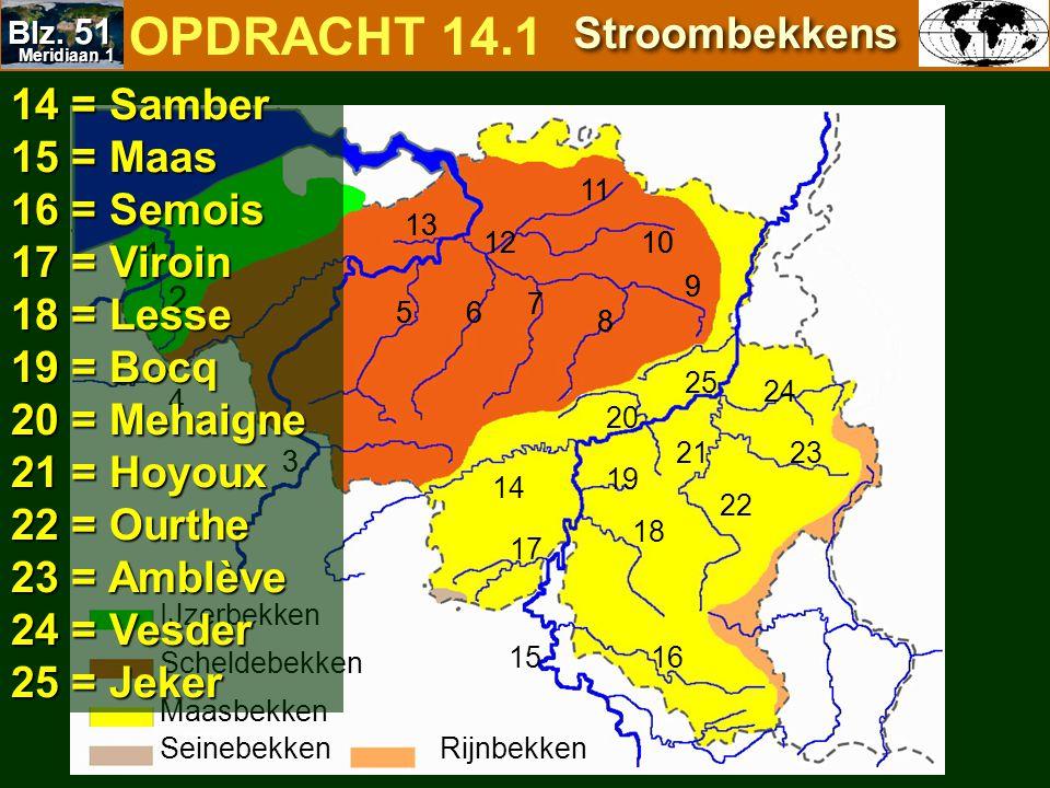 OPDRACHT 14.1 Stroombekkens 14 = Samber 15 = Maas 16 = Semois