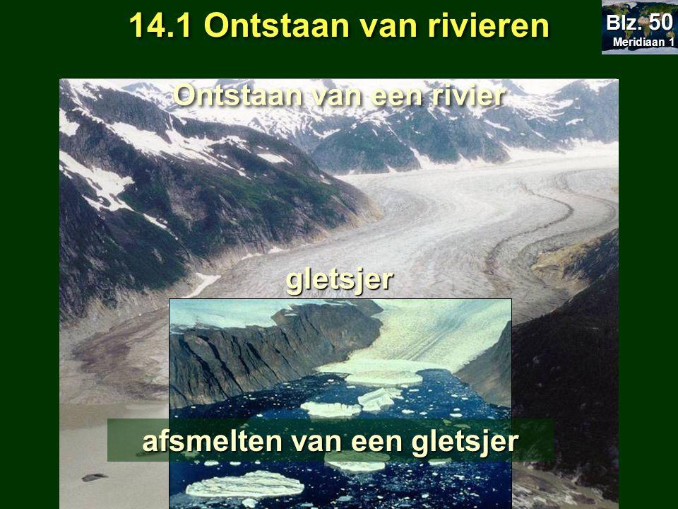 Ontstaan van een rivier afsmelten van een gletsjer