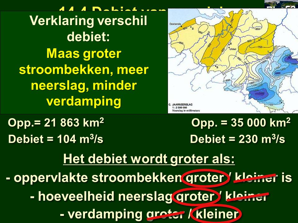 14.4 Debiet van een rivier Verklaring verschil debiet: