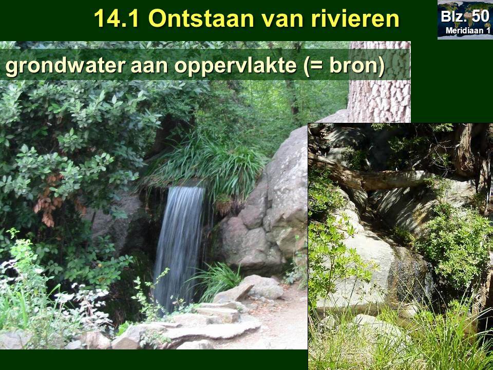 14.1 Ontstaan van rivieren grondwater aan oppervlakte (= bron) Blz. 50