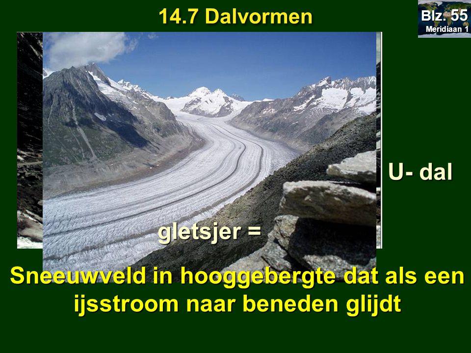 Sneeuwveld in hooggebergte dat als een ijsstroom naar beneden glijdt