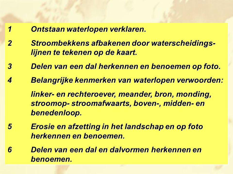 1 Ontstaan waterlopen verklaren.