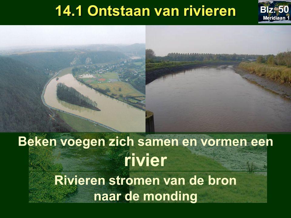 14.1 Ontstaan van rivieren Rivier ontstaat als een beekje aan de bron