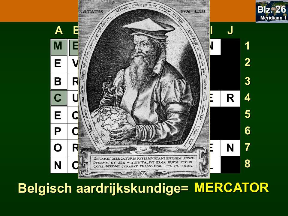 OPDRACHT 7.4 7.1 Oriënteren Belgisch aardrijkskundige= MERCATOR A B C