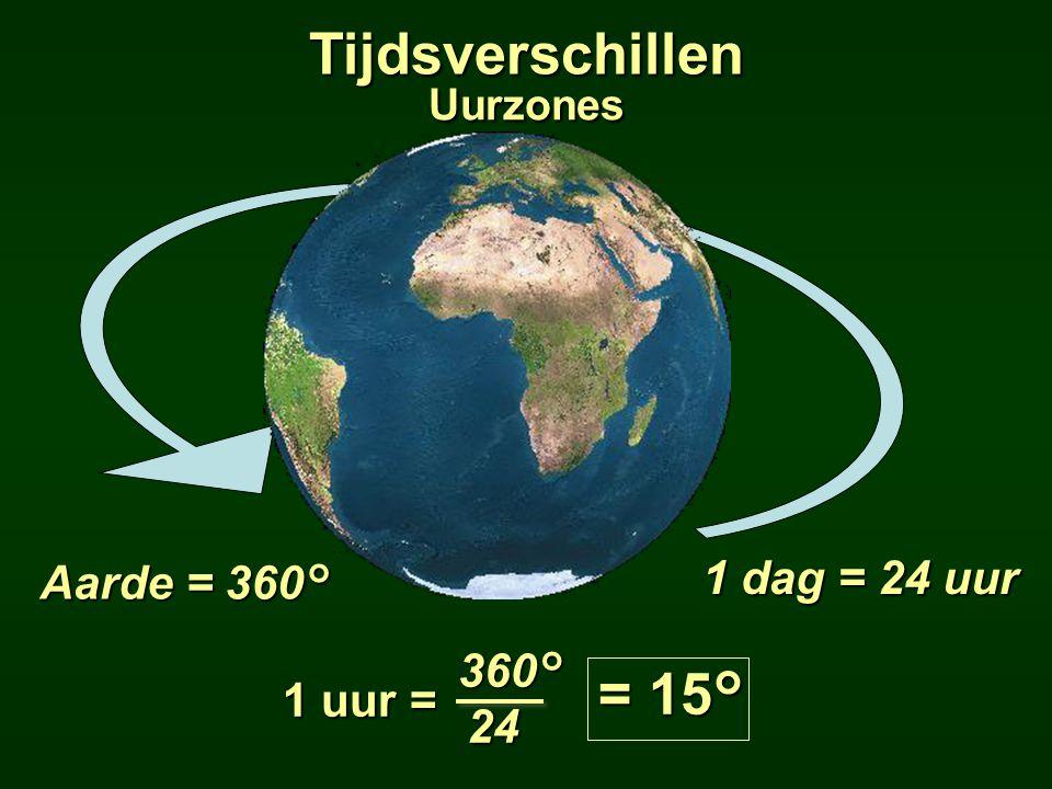 Tijdsverschillen = 15° 1 dag = 24 uur Aarde = 360° 360° 1 uur = 24