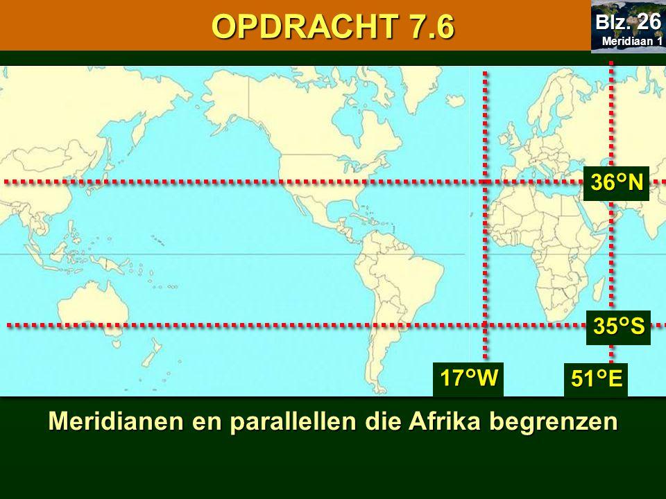 Meridianen en parallellen die Afrika begrenzen