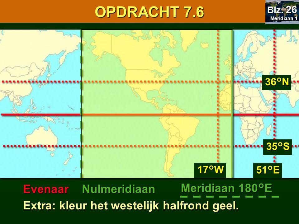 7.1 Oriënteren OPDRACHT 7.6 Evenaar Nulmeridiaan Meridiaan 180°E