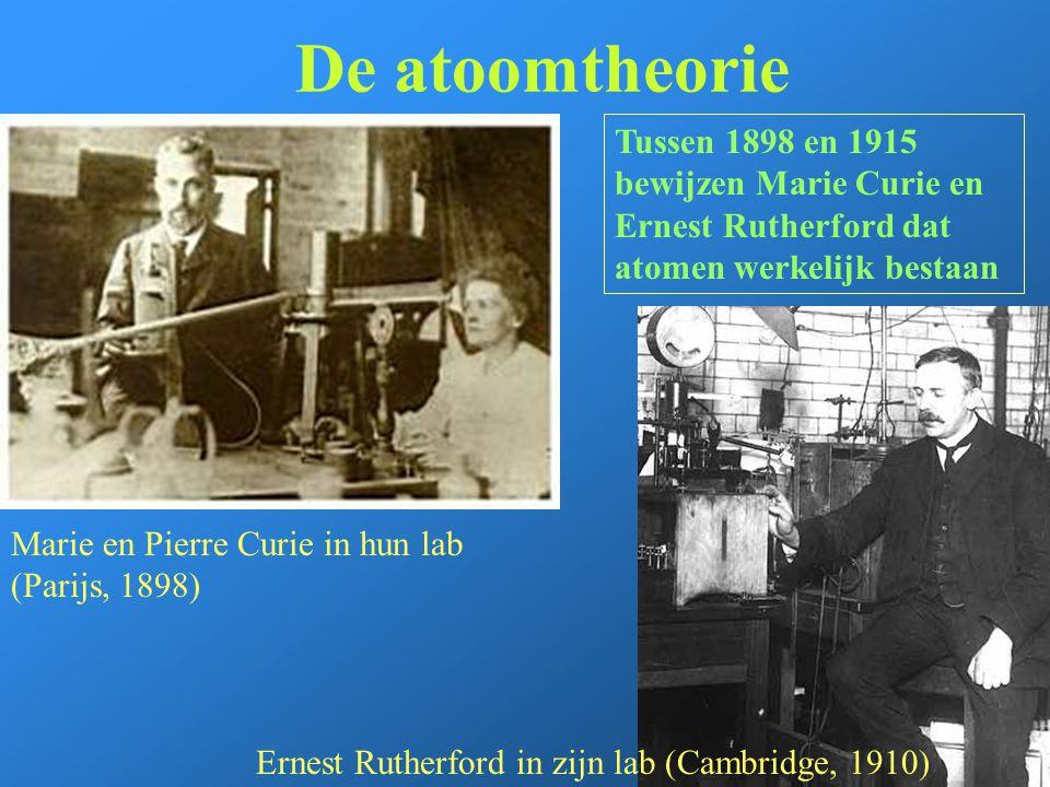 De atoomtheorie Tussen 1898 en 1915 bewijzen Marie Curie en Ernest Rutherford dat atomen werkelijk bestaan.
