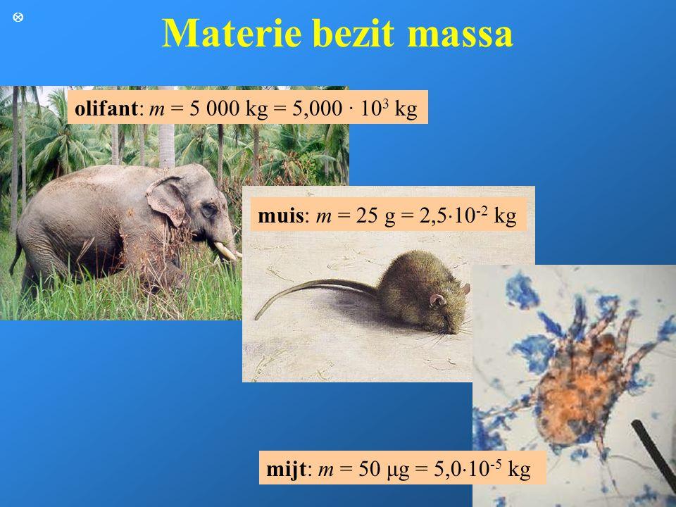 Materie bezit massa olifant: m = 5 000 kg = 5,000 · 103 kg