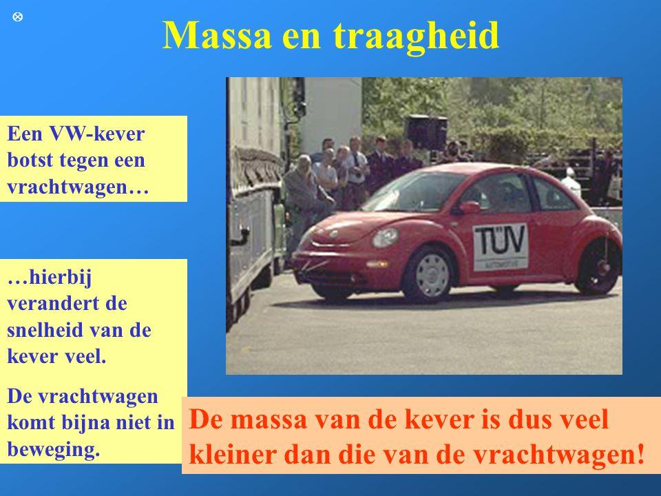 Massa en traagheid  Een VW-kever botst tegen een vrachtwagen… …hierbij verandert de snelheid van de kever veel.
